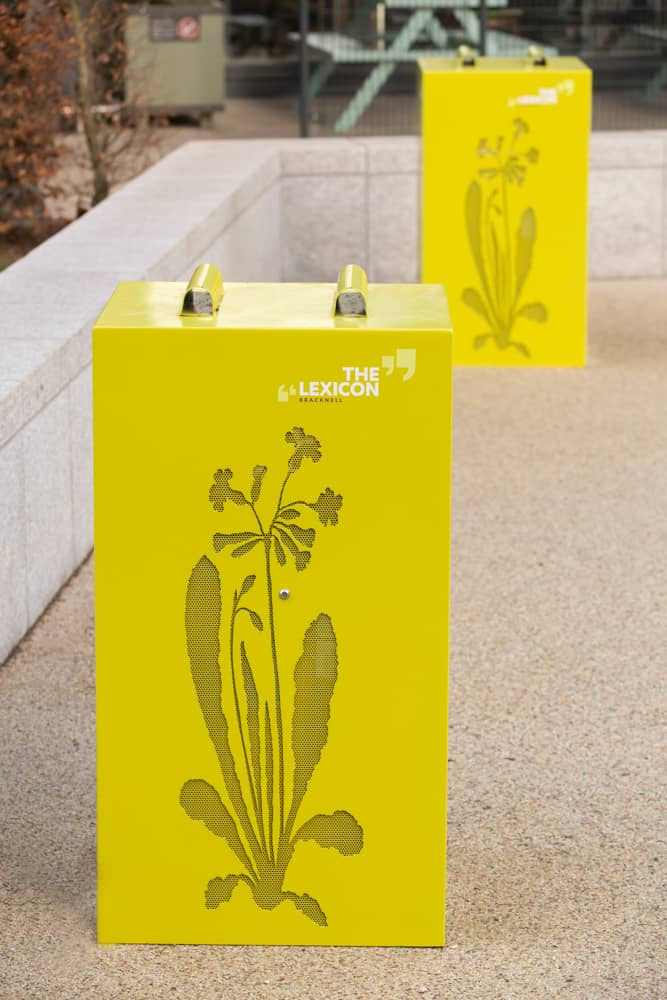 Decorative shrouds designed for The Lexicon, Bracknell to protect electric points - featuring brand imagery