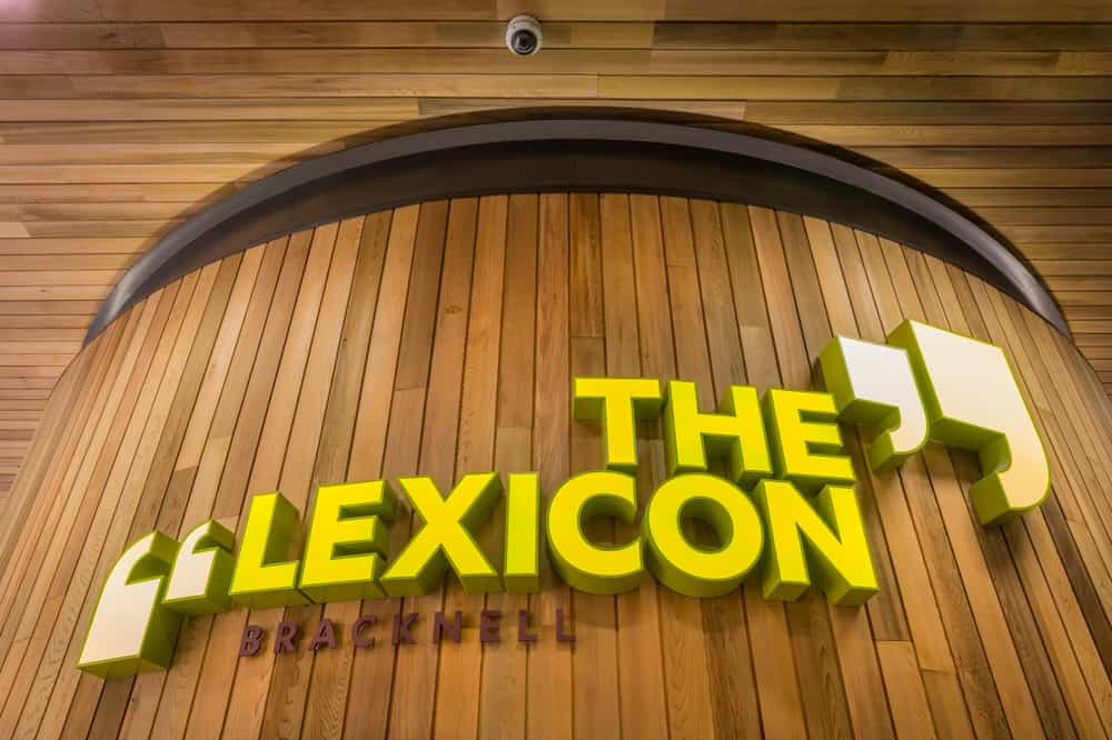 Identity sign for The Lexicon, Bracknell constructed of individual letters on a slatted timber background