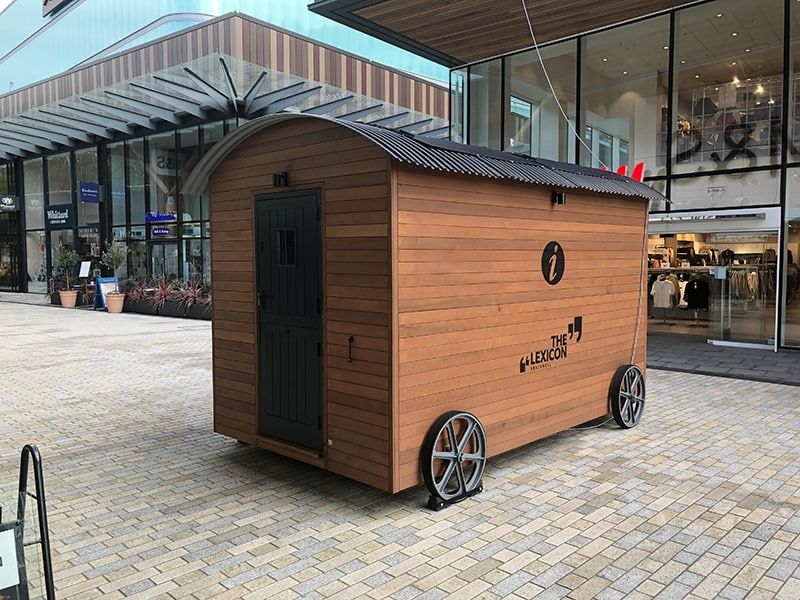 Customer services kiosk, with a shepherd hut design for The Lexicon, Bracknell