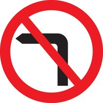 Highway Code symbol for no left turn