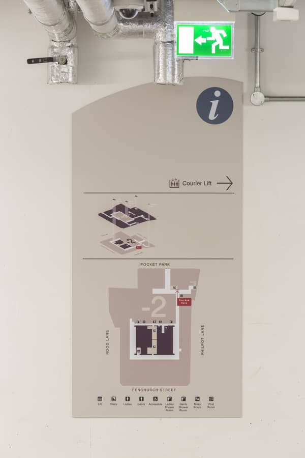 Close up view of the basement plan sign within 20 Fenchurch St.