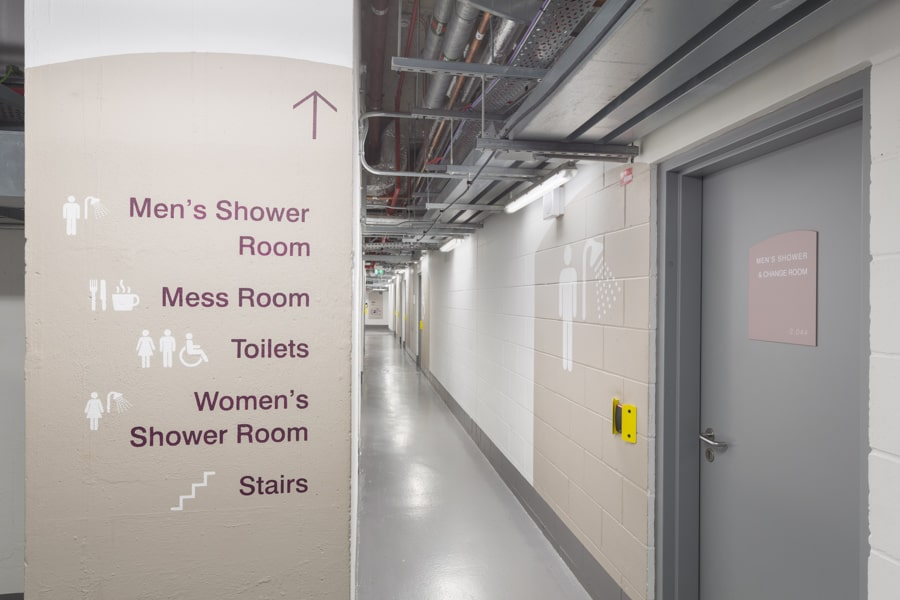 Examples of the large scale wayfinding and facility identification graphics in the wayfinding for the back of house areas in 20 Fenchurch ST