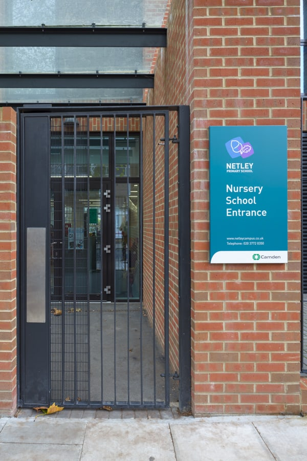 Entrance identification sign to the Nursery school within Netley Campus