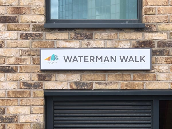 Street sign within Clippers Quay