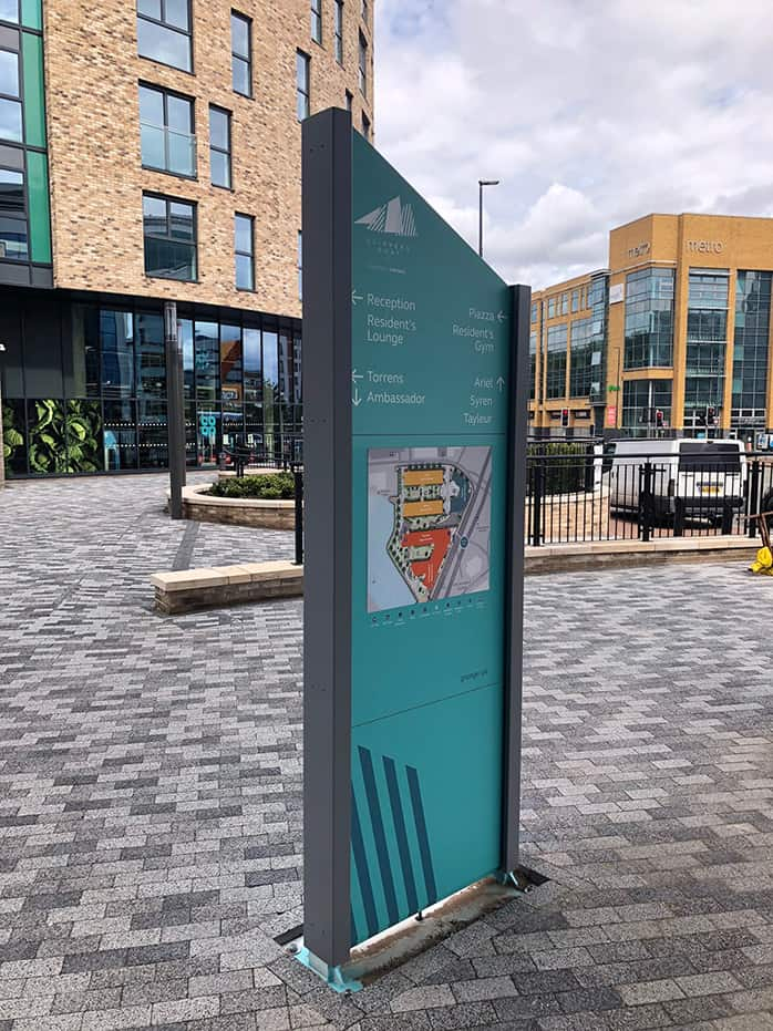 Totem sign within Clippers Quay