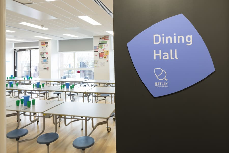 Facility identification sign for the dining hall