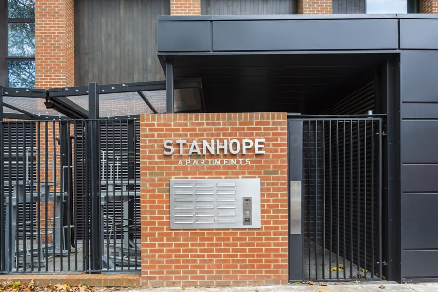 Entrance to Stanhope Apartments