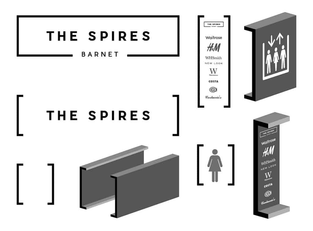 Design detail for the wayfinding refreshment for The Spires Shopping Centre in Barnet