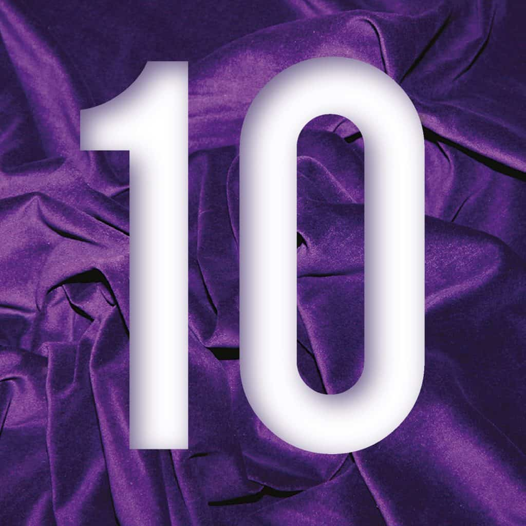 Large figure 10 in white letters against a purple velvet background
