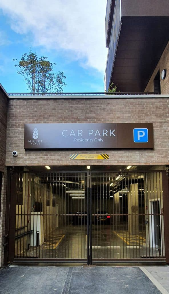 Car park entrance sign