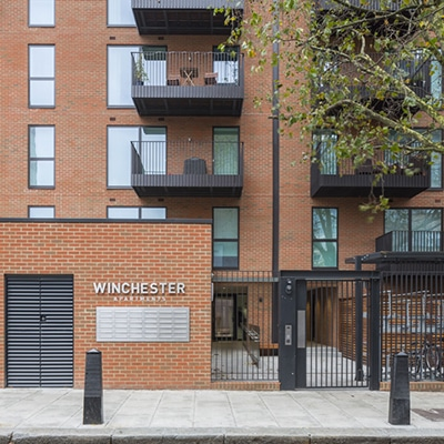Entrance to Winchester Apartments