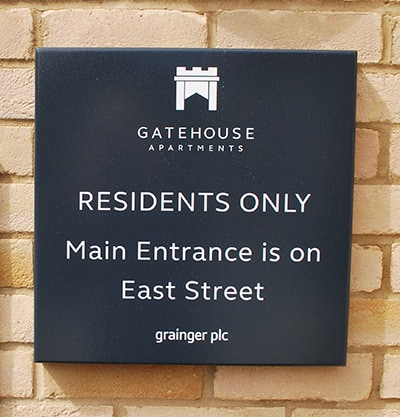 Residents entrance sign at Gatehouse Apartments