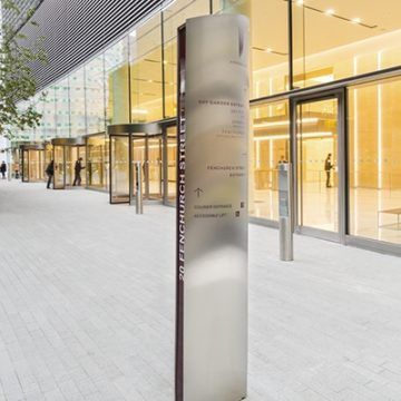 Face on view of wayfinding totem for 20 Fenchurch St