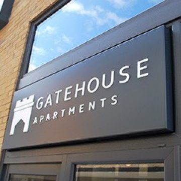 Entrance Sign at Gatehouse Apartments Southampton