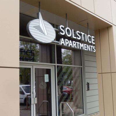 Solstice Apartments entrance sign