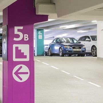 level identification and wayfinding guidance in Trinity Leeds car park